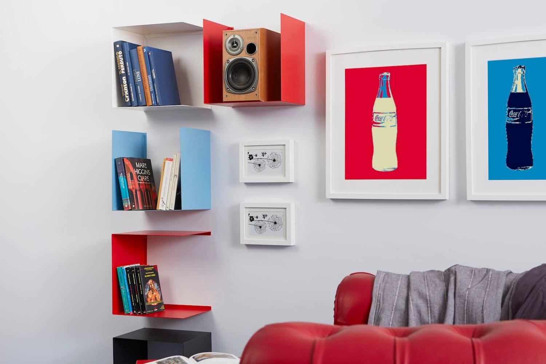 4 Living stile pop con mensole colorate Geometric