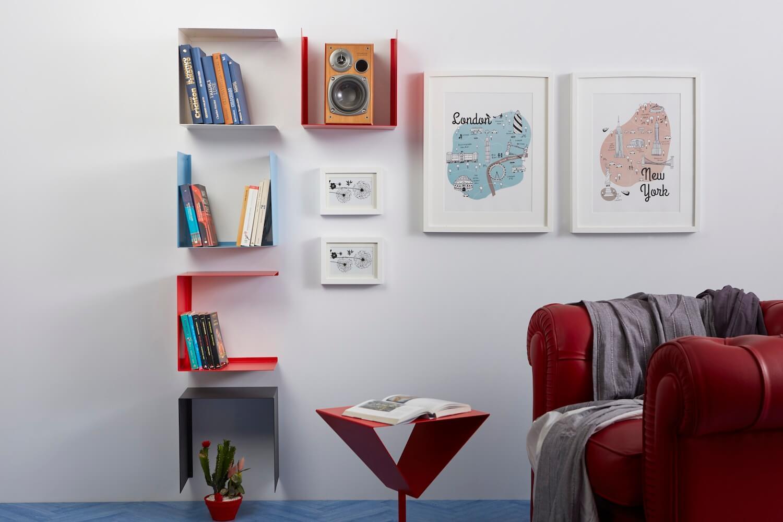 Living stile pop con mensole colorate Geometric colore rosso